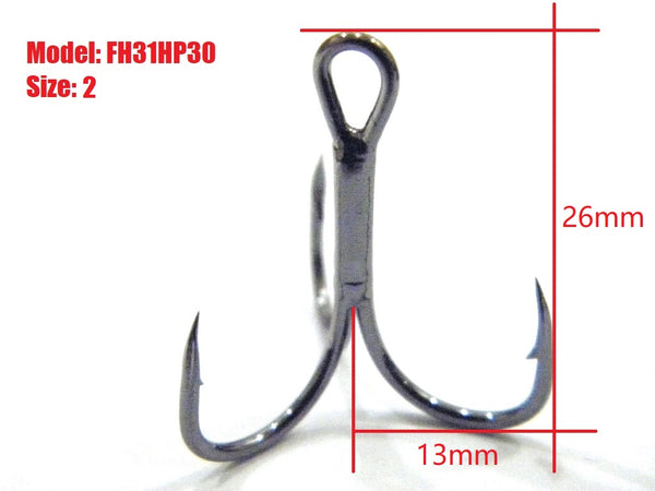 Fishing Lures Accessories Treble Hooks Cutting Blade Forged FH31HP30 (30 hooks per pack)