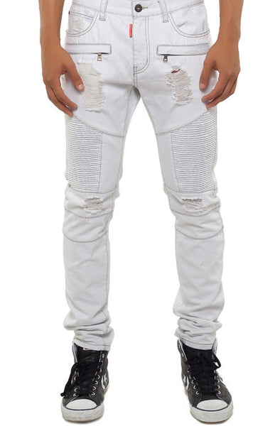 The S,Q,Z, Crafted Slim Biker Denim in Off White in Off White