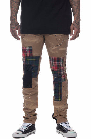The S.Q.Z. Cotton Canvas Slim Fit Pants with Flannel & Corduroy Patchwork in Timber.