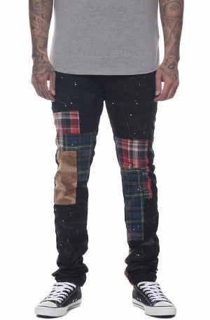 The S.Q.Z. Cotton Canvas Slim Fit Pants with Flannel & Corduroy Patchwork in Black.