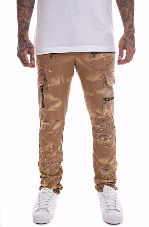 The S.Q.Z. Premium Cotton Canvas Moto Inspired Cargo Pocket Pants in Timber