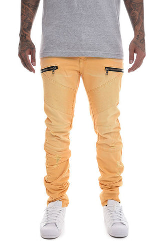 The S.Q.Z. Premium Moto Inspired Slim Skinny Pants in Yellow
