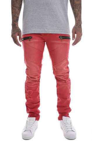 The S.Q.Z. Premium Moto Inspired Slim Skinny Pants in Red
