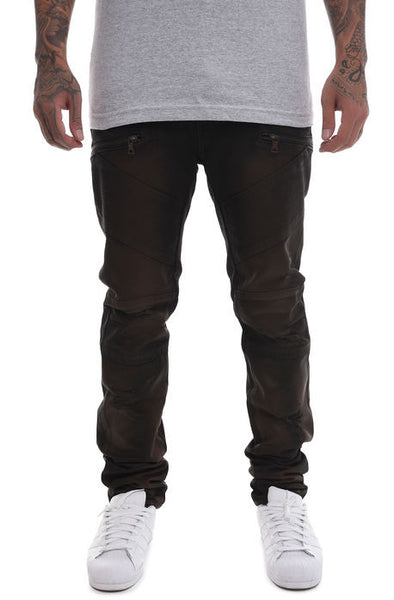 The S.Q.Z. Premium Wax Coated Moto Inspired Skinny Fit Cotton Denim in DK.Brown