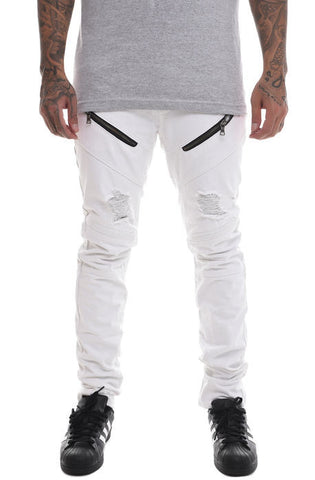 The S.Q.Z. Premium Moto Inspired Skinny Pants in White