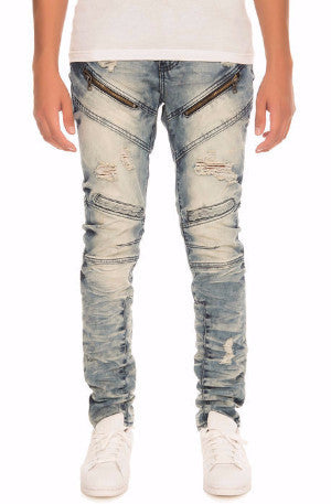 The S.Q.Z. Premium Moto Inspired Skinny Pants in Indigo Biscay (STY# GD-2204-BISCAY)