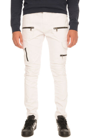 The S.Q.Z. Premium Moto Inspired Skinny Pants in White Wax Cargo (STY# GD-2215-WHITEWAX)
