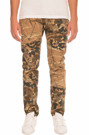The S.Q.Z. Premium Moto Inspired Skinny Pants in Woodland Camouflage (STY# GD-2300-WOODLAND)