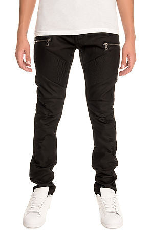 The S.Q.Z. Premium Moto Inspired Skinny Pants in Black Wax (STY# GD-2412-BLACKWAX)