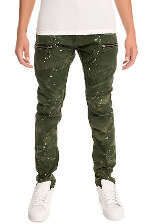 The S.Q.Z. Premium Cotton Canvas Moto Inspired Cargo Pocket Pants in Olive (STY# GD-2400-OLIVE)