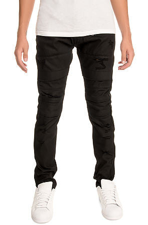 The S.Q.Z. Premium Moto Inspired Skinny Pants in Black Wax (STY# GD-2512-BLACKWAX)