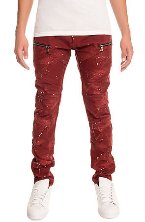 The S.Q.Z. Premium Cotton Canvas Moto Inspired Cargo Pocket Pants in Burgundy (STY# GD-2400-BURGUNDY)