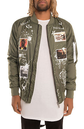 The S.Q.Z. Padded Bomber Jacket with Print & Patchwork (GK-6300-Olive)