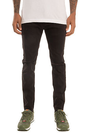 The S.Q.Z. Premium Stretchable Denim Skinny Pants with Raw Bottom Opening (Style GD-2600-Black)