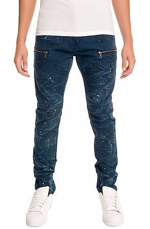 The S.Q.Z. Premium Cotton Canvas Moto Inspired Cargo Pocket Pants in Navy (STY# GD-2400-NAVY)