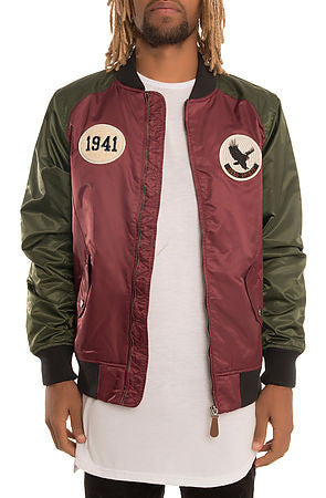 The S.Q.Z. Nylon Bomber Jacket (GK-6500-Dark Olive/Burgundy)