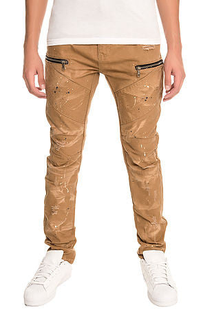 The S.Q.Z. Premium Cotton Canvas Moto Inspired Cargo Pocket Pants in Timber (STY# GD-2400-TIMBER)