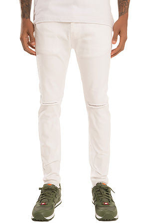 The S.Q.Z. Premium Stretchable Cottom Denim with Raw Bottom Hem (Style GD-2600-White)