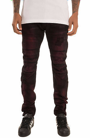 The S.Q.Z. Moto Inspired Denim Jeans (Style GD-2320-Scarlet)