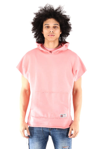 S.Q.Z. Premium Cotton French Terry Over-sized Cut Pullover Short Sleeve Hoody In Pastel Pink (STY HF-6020-PINK)