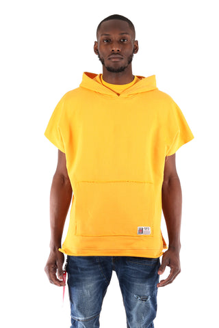 S.Q.Z. Premium Cotton French Terry Over-sized Cut Pullover Short Sleeve Hoody In Pastel Yellow (STY HF-6020-PASTELYELLOW)