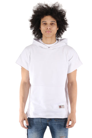 S.Q.Z. Premium Cotton French Terry Over-sized Cut Pullover Short Sleeve Hoody In White (STY HF-6020-WHITE)