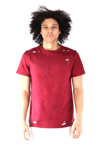 S.Q.Z. Premium Cotton French Terry Short Sleeve T-shirt in Burgundy (STY HT-1010-BURGUNDY)