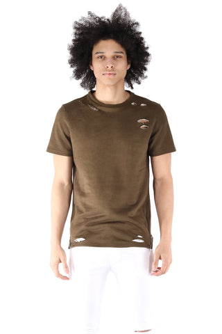 S.Q.Z. Premium Cotton French Terry Short Sleeve T-shirt in Olive (STY HT-1010-OLIVE)