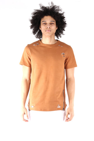 S.Q.Z. Premium Cotton French Terry Short Sleeve T-shirt in Timber (STY HT-1010-TIMBER)