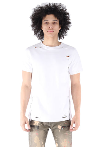S.Q.Z. Premium Cotton French Terry Short Sleeve T-shirt in White (STY HT-1010-WHITE)