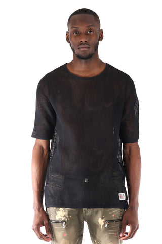 SquareZero Premium Cotton Mesh T-shirt With Finely Finished Edge In Black (STY HT-1030-BLACK)