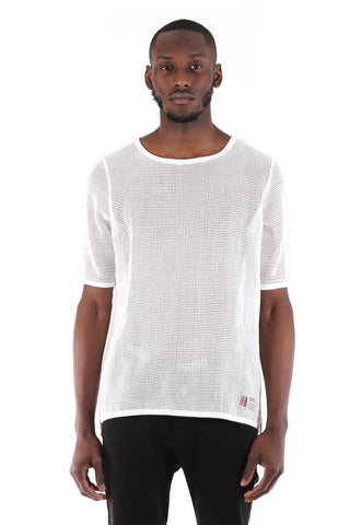 SquareZero Premium Cotton Mesh T-shirt With Finely Finished Edge In White (STY HT-1030-WHITE)