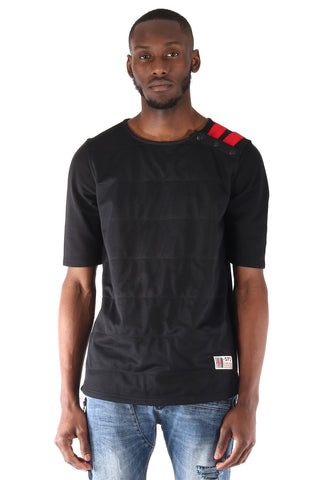 SquareZero Premium Cotton French Terry with Double Layered Front Mesh Short Sleeve T-Shirt in Black (STY HT-1040-BLACK)