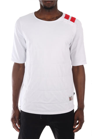 SquareZero Premium Cotton French Terry Double Layered Front Mesh Short Sleeve Tee in Black (STY HT-1040-WHITE)