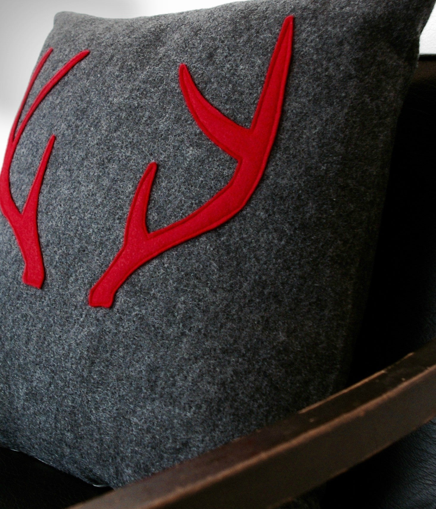Charcoal and Red Antlers Pillow Cover