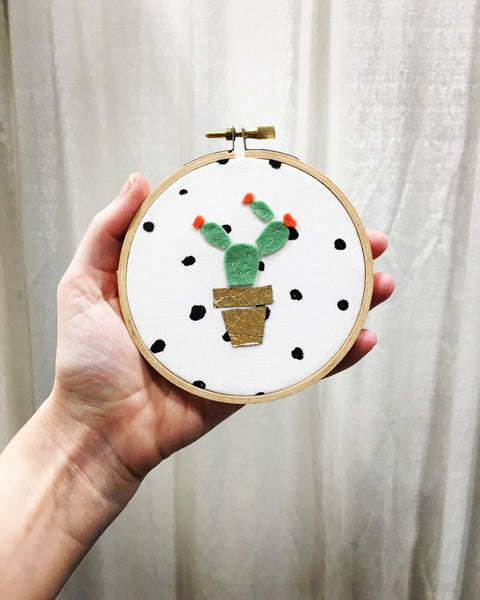 Mini Cactus Embroidery Hoop Wall Art