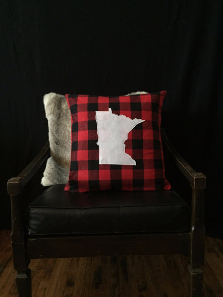 Buffalo Check and White State Silhouette Pillow Covers