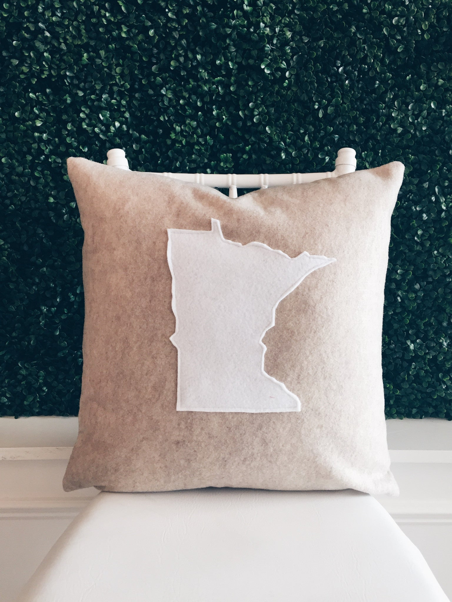 Oatmeal and White State Silhouette Pillow Covers
