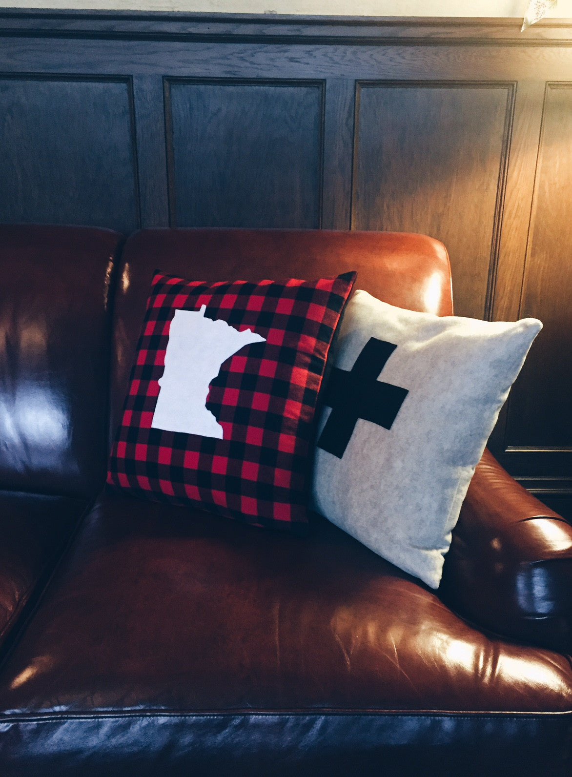 Oatmeal and Black Swiss Cross Pillow Cover
