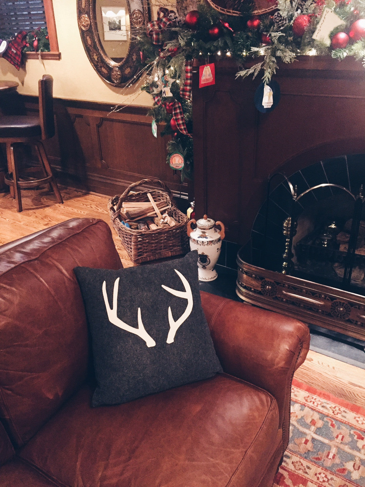 Charcoal and Cream Antlers Pillow Cover