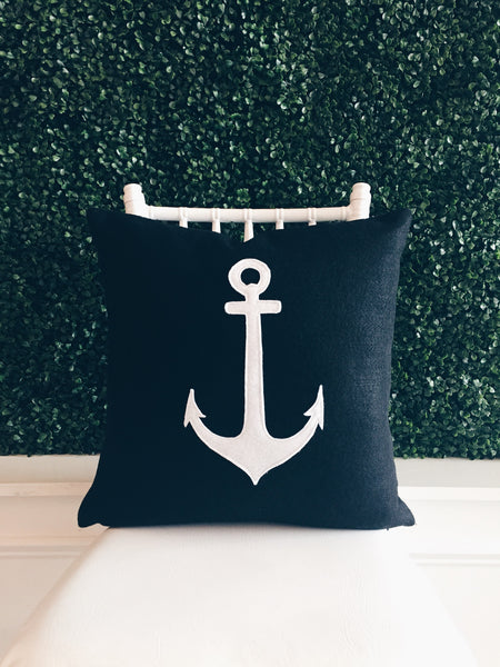 Navy and White Anchor Decorative Pillow Cover