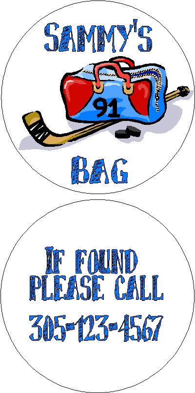 Bag Tag #4   * Add your child's sports number next to his name and we will put it on the bag! Customized by Fun with pads