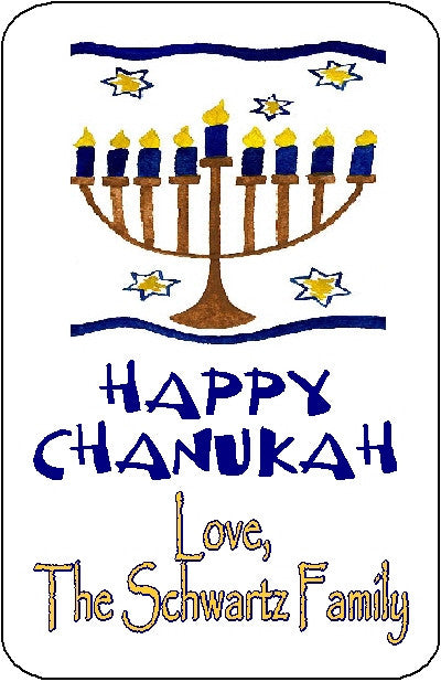 Chanukah Menorah Gift Sticker Personalized by Fun with Pads