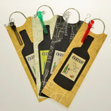 Four wine bags with handle and corkscrew personalized by Fun with Pads