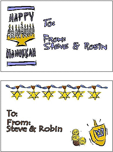 Hanukkah Set #2 Gift Cards Customized by Fun with Pads