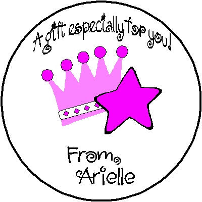 Round Gift Sticker 1 Crown Customized by Fun with Pads