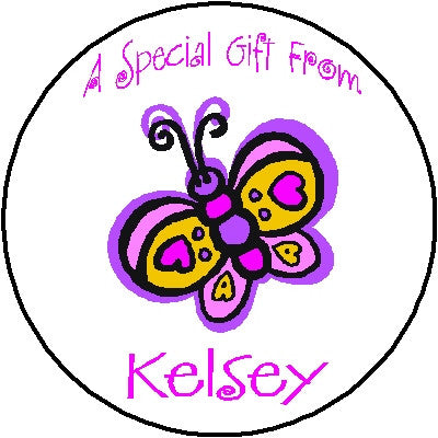 Round Gift Sticker 2 Butterfly Customized by Fun with Pads