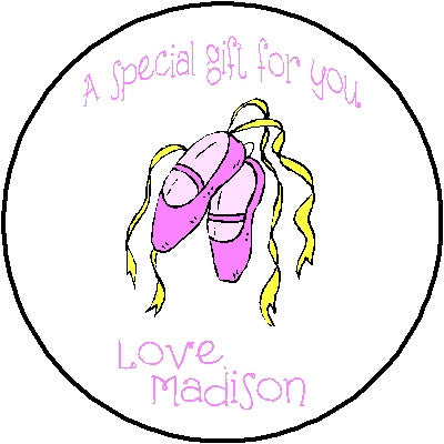 Round Gift Sticker 7 Ballet Customized by Fun with Pads