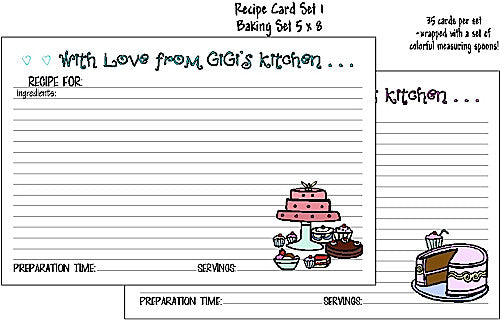 Recipe Cards Baking Set 5x8 Customized by Fun with Pads