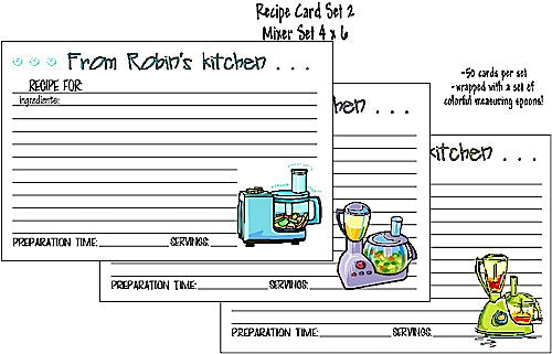 Recipe Cards Mixing Set 4x6 Customized by Fun with Pads
